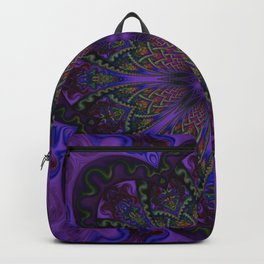 Psychedelic Purple Fractal Mandala Backpack