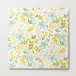 Playful petals - mint Metal Print