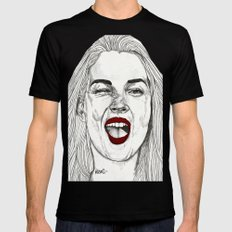 Kate with the Red Lips Black Mens Fitted Tee MEDIUM