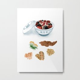 Watercolor Illustration of Chinese Snack - Tortoise Jelly | 龟苓膏 Metal Print
