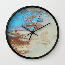 Fluid Art Acrylic Painting, Pour 27, Brown, Tan & Blue Blended Color Wall Clock