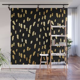 Gold Stripes on Black Wall Mural