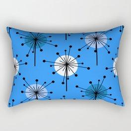 Atomic Era Sputnik Starburst Flowers Blue Rectangular Pillow