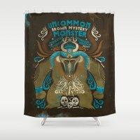 monster Shower Curtains featuring monster by Judit Varga
