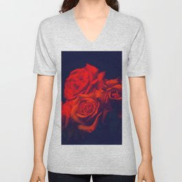 Awesome Fantastic Corsage Red Roses Close Up Ultra HD Unisex V-Neck