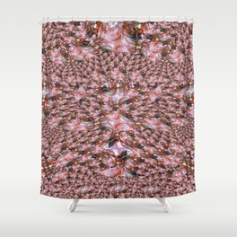 Red Fractal Lace Shower Curtain