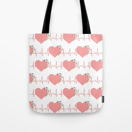 Flower ECG Hearts Tote Bag