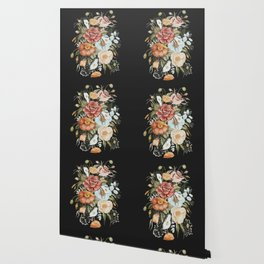 Roses and Poppies Bouquet on Charcoal Black Wallpaper