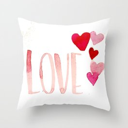 Love 5 Hearts - Pink Throw Pillow
