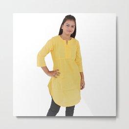 Yellow Kurti for Women Metal Print