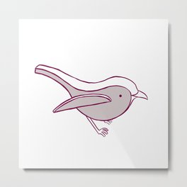 Robin- Raspberry Metal Print