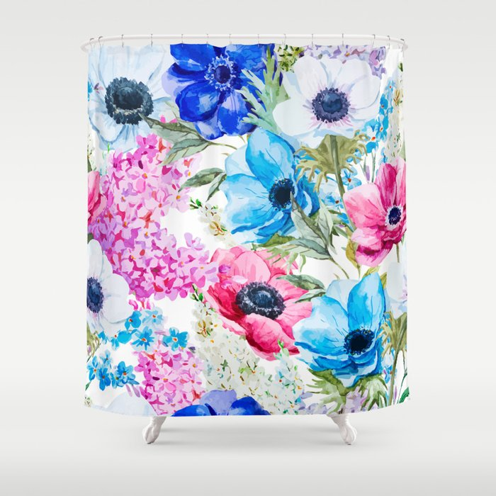 Spring Anemone Watercolor Blue Pink Shower Curtain