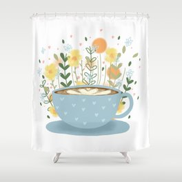 Floral Coffee Shower Curtain