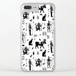 Seamless pattern with egyptian gods and symbols. Black and white. Clear iPhone Case