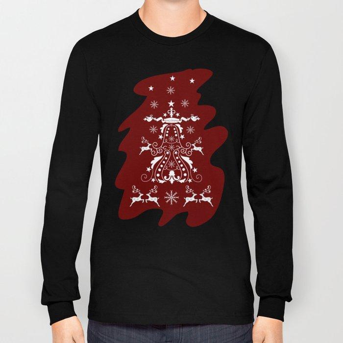 Retro damask christmas tree with reindeer Long Sleeve T-shirt
