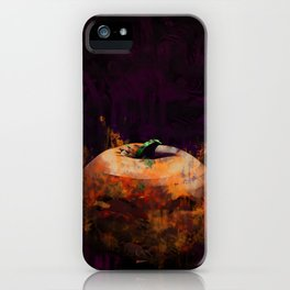 Grunge Halloween Background with Evil Grinning Pumpkins iPhone Case