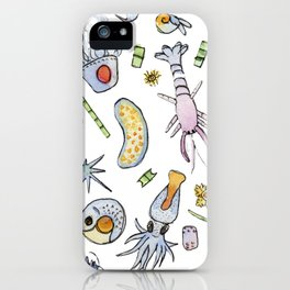 Zooplankton friends in watercolor iPhone Case