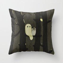 Little Ghost & Owl Throw Pillow