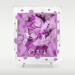 Dove With Celtic Peace Text In Pink Purple Tones Shower Curtain