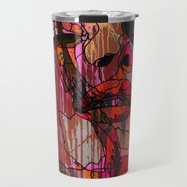 Face of a woman in a grunge style with linedrawing Travel Mug