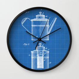 Coffee Patent - Coffee Shop Art - Blueprint Wall Clock