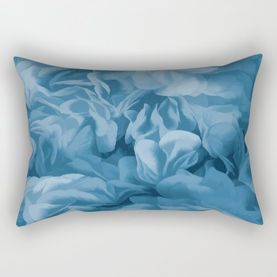 Midnight Blue Petal Ruffle Abstract Rectangular Pillow