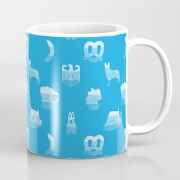 Oktoberfest Bavarian October Beer Festival Motifs in Bavarian Blue Coffee Mug