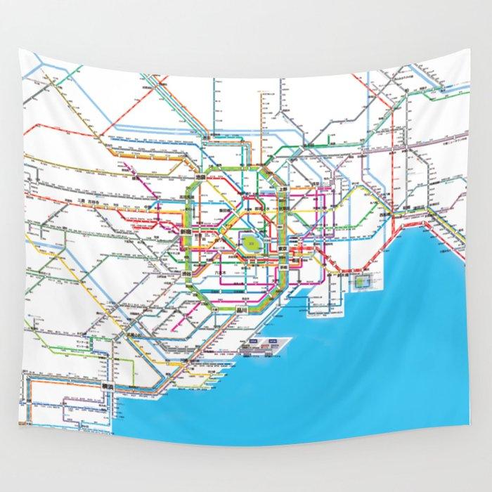 Subway Map Tapestry.Tokyo Subway Map Wall Tapestry