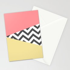 Color Blocked Chevron 2 Stationery Cards