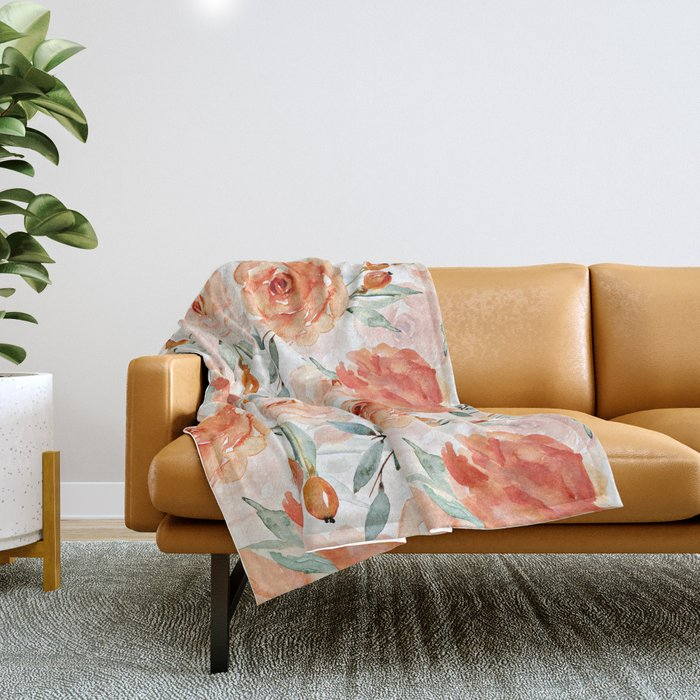 Living Coral Autumnal Roses Throw Blanket