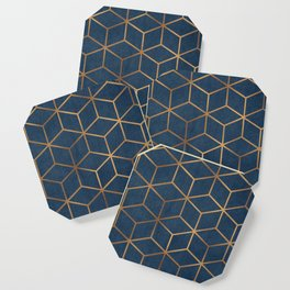 Dark Blue and Gold - Geometric Textured Cube Design Coaster