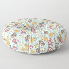 Breakfast Bacon Donuts Eggs Coffee & Orange Juice Pattern Floor Pillow