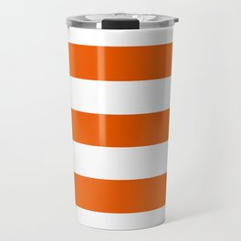 Persimmon - solid color - white stripes pattern Travel Mug