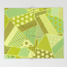 Graphic Leaf Patchwork (Spring Green Bold Colors) Throw Blanket
