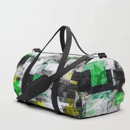 vintage psychedelic geometric square pixel pattern abstract in green yellow black Duffle Bag