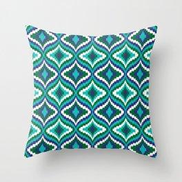 Blue Green Bargello Pattern Throw Pillow