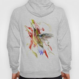 Flying Hummingbird and red tropical foliage Hoody