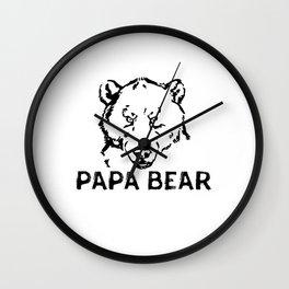 Papa Bear Fierce Eye - Funny Father's Day Dad To Be Cool Pun Gift Wall Clock