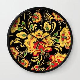Native russian khokhloma pattern Wall Clock