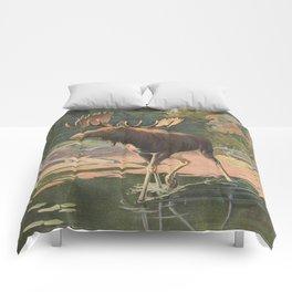 Vintage Moose Illustration (1902) Comforters