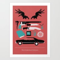 supernatural Art Prints featuring Supernatural by Abbie Imagine