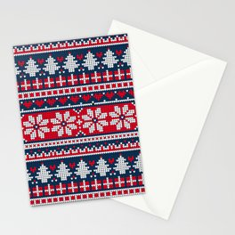 Knitted Christmas Winter Pattern Stationery Cards