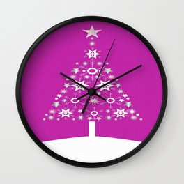 Christmas Tree Made Of Snowflakes On Pink Background  Wall Clock
