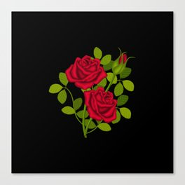 Painted Red Roses Canvas Print