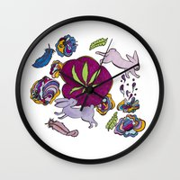 cannabis Wall Clocks featuring Cannabis Bunnies by Ri 13
