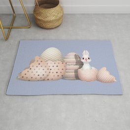 Kawaii Easter - Bunny hatching from Golden Colored Easter Eggs - light blue background Rug