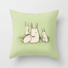 Bunny Family Throw Pillow