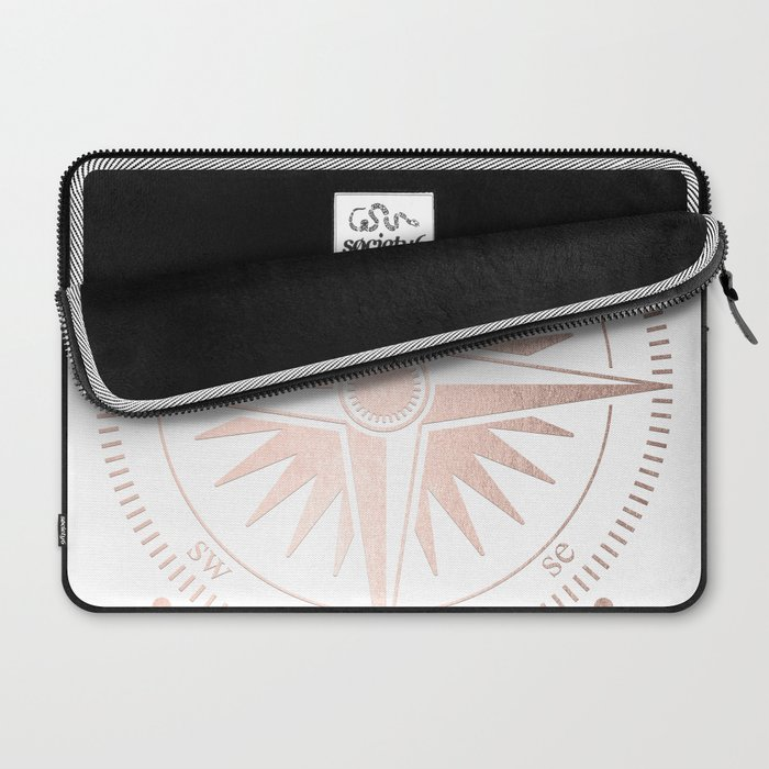 Rose Gold on White Compass Laptop Sleeve