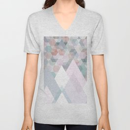 Pastel Graphic Winter Mountains on Geometry #abstractart Unisex V-Neck