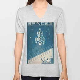 SpaceX retro-futuristic poster design Unisex V-Neck